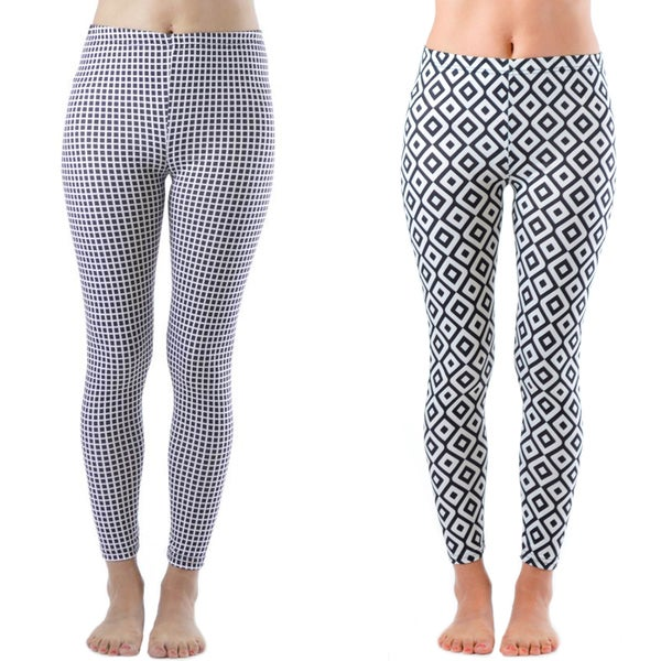 Women's Geometric Print Nylon and Spandex Legging (Set of 2)