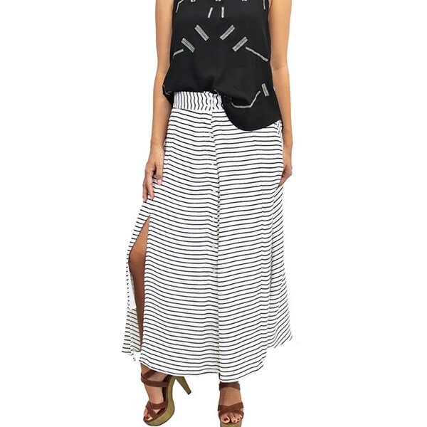 Relished Women's White and Black Polyester and Spandex Striped Button-up Slit Maxi Skirt