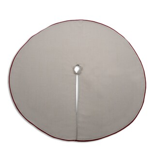 Natural Khaki Linen and Red Trimmed 53-inch Tree Skirt