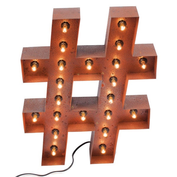Vintage Hashtag Marquee Light