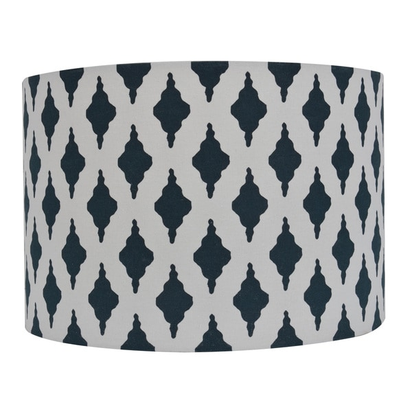 Trellise Patterned Blue 15-inch x 10-inch Drum Shade
