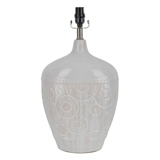 J Hunt and Company White Ceramic Embossed Table Lamp