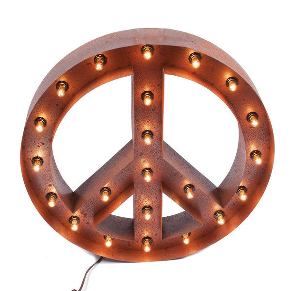 Joseph Allen Vintage Peace Sign Marquee Light
