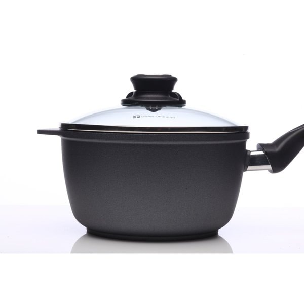 Swiss Diamond Black Aluminum 2.2-quart 7-inch Nonstick Saucepan