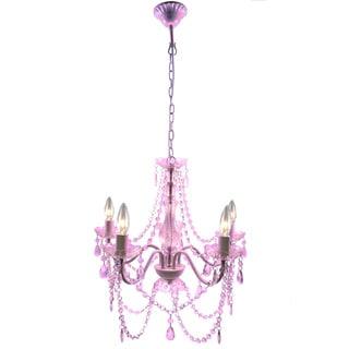 Warehouse of Tiffany Edvina Pink Acrylic/Metal 5-light Chandelier