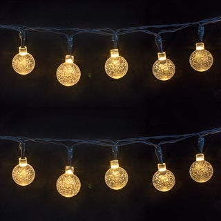 Warm White Acrylic 16.4-foot 30 LED Crystal Ball Solar String Lights