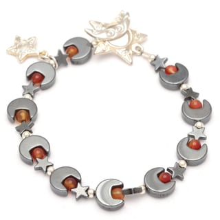 Healing Stones for You Hematite Moon and Star Bracelet with Carnelian