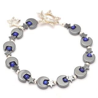 Healing Stones for You Hematite Moon and Star Bracelet with Lapis Lazuli