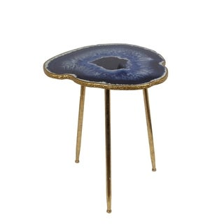 Privilege Contemporary Gold Leaf Metal Accent Table