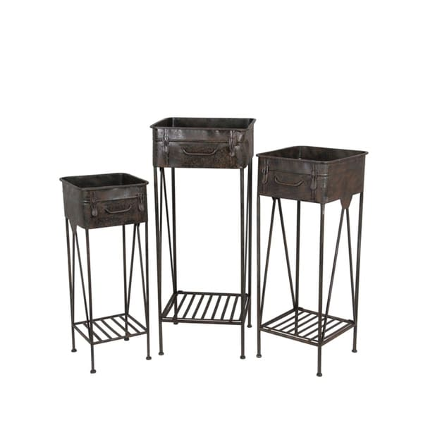 Privilege Distressed Antique Iron Contemporary Plant Stands (Pack of 3)