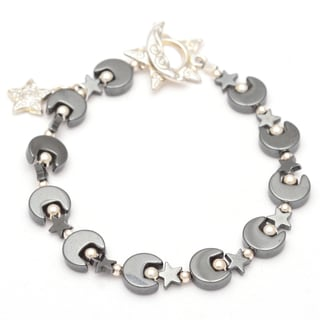 Healing Stones for You Hematite Moon and Star Bracelet with Sterling Silver