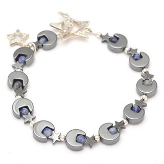 Healing Stones for You Hematite Moon and Star Bracelet with Sodalite