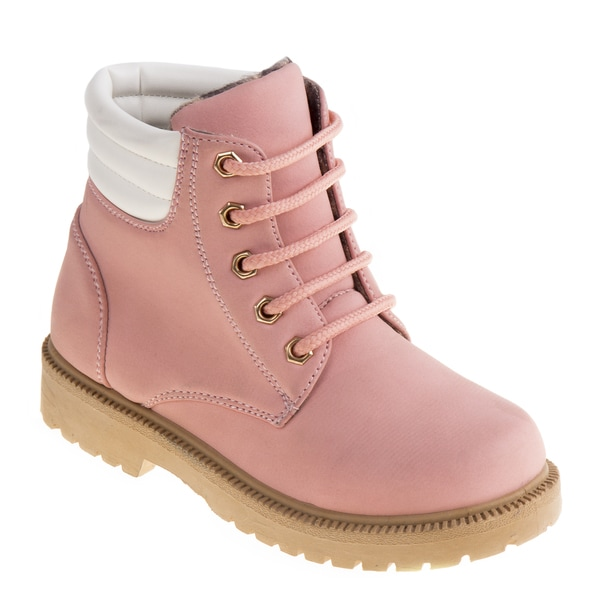 Rugged Bear Girls' Tan/Black/Pink Polyurethane Casual Boots