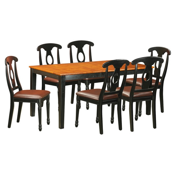 Compare 7 pc dining set dining table with 6 wood for 8 pc kitchen set