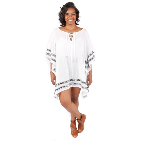 Hadari Women's Plus Size Boho Tunic With Embroidered Trim Detail