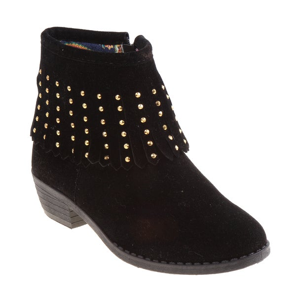 Kensie Girl Tan/Black Suede/Polyurethane Fringe Boots