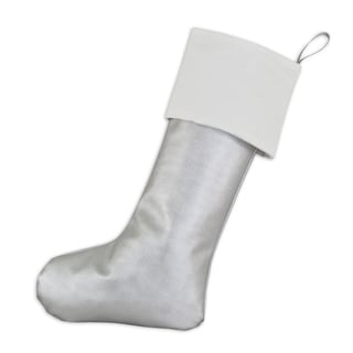 White, Grey Polyested 11-inch x 19-inch Christmas Stocking with Silver Tab