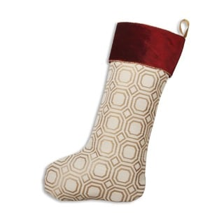 Milo Straw Red/Ivory/Gold Velvet 11-inch x 19-inch Stocking