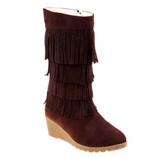 Kensie Girl Fringe Wedge Boots