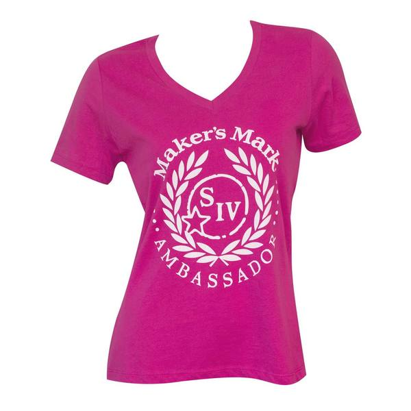 Maker's Mark Ambassador Women's Pink Polyester, Cotton V-Neck T-Shirt