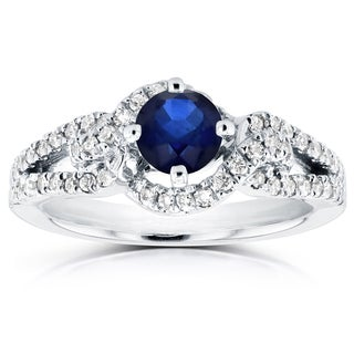 Annello 14k White Gold 4/5ct Round Blue Sapphire and 1/3ct TDW Diamond Knot Engagement Ring (H-I, I1-I2)