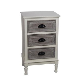Privilege Cream Melody Washed Grey/White Wood Transitional 3-drawer Storage Stand