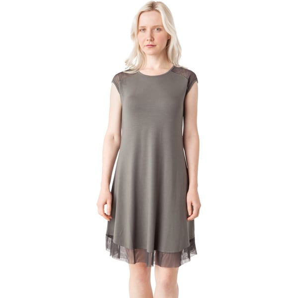 AtoZ Modal Mesh Cap Sleeve Dress