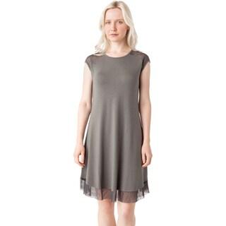 AtoZ Modal Mesh Cap Sleeve Dress