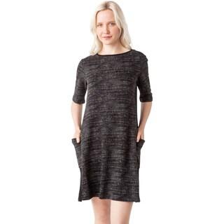 AtoZ Women's Short Sleeve Crewneck Pocket Dress