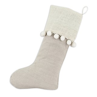 Off-white Natural Linen Burlap 11-inch x 19-inch Christmas Stocking With Ribbon Tab, Band, and Pom-poms
