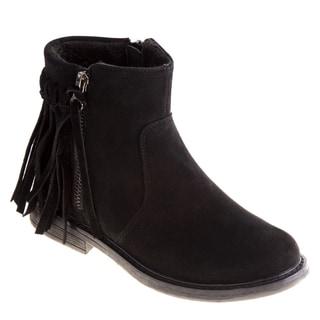 Kensie Girl Girls' Black/Brown Polyurethane/Suede Ankle Fringe Boots