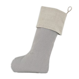 Oxford Charcoal/Natural Linen 11-inch x 19-inch Christmas Stocking With Hemp Tab