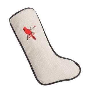 Cardinal Natural Linen/Polyester 11-inch x 19-inch Christmas Stocking With Tinga Moreno Cording