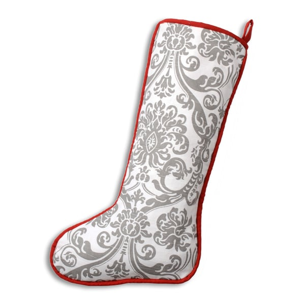 Abigail Storm Red, White, and Grey Cotton and Polyester 11-inch x 19-inch Corded Christmas Stocking