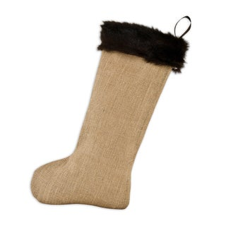 Natural Tan/Brown Fur/Polyester 11-inch x 19-inch Burlap Lined Trimmed Stocking