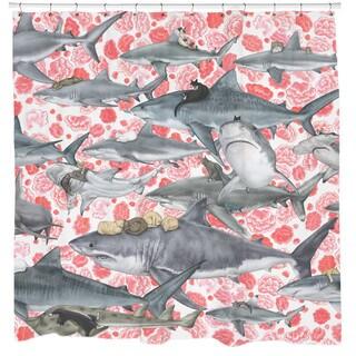 Sharp Shirter Hunters/ Cat and Shark Shower Curtain