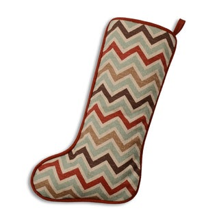 Zoom Zoom Nile Denton Stripped with Crimson Cording Cotton and Polyester 11-inch x 19-inch Christmas Stocking