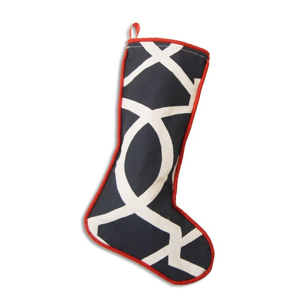Morrow Blue 11-inch x 19-inch Christmas Stocking with Red Cording 19169204