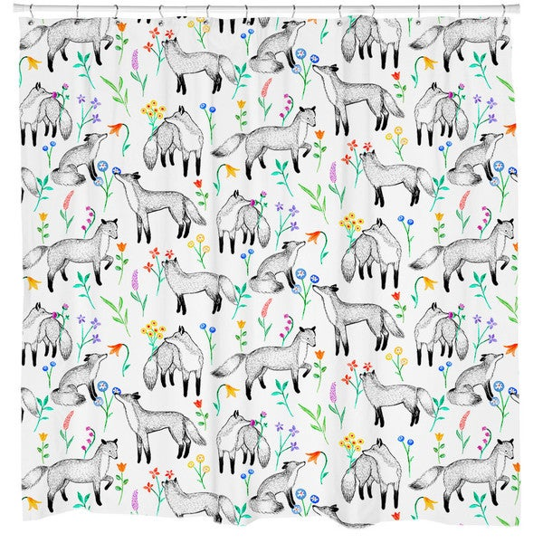 Sharp Shirter Floral Foxes/ Fox Shower Curtain