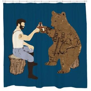 Sharp Shirter Having a Bear/ Beer Shower Curtain