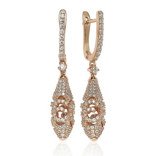 Suzy Levian Rose Sterling Silver Cubic Zirconia Artistic Drop Earrings