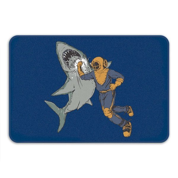 Sharp Shirter Shark Punch Navy Memory Foam Bath Mat