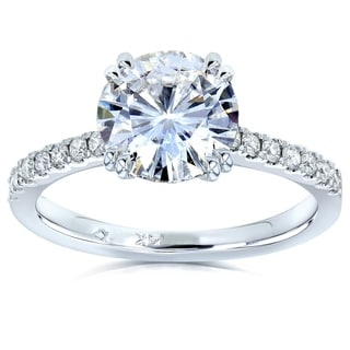 Annello 14k White Gold 1 7/8ct Forever Brilliant Moissanite and 1/5ct TDW Diamond Engagement Ring (G-H, I1-I2)