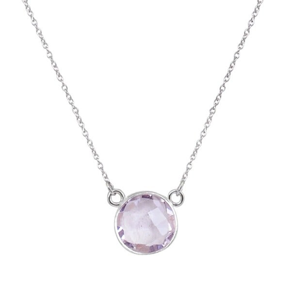 Orchid Jewelry 925 Sterling Silver 5 2/5ct Pink Amethyst Gemstone Necklace