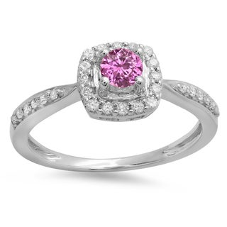 14k White/Yellow Gold 1/2-carat Pink Sapphire and Diamond Halo-style Bridal Engagement Ring