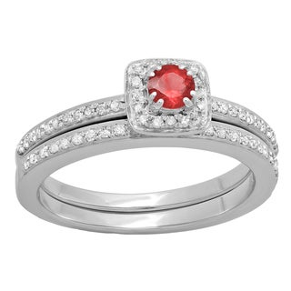 10k White/Yellow Gold 1/2-carat Round-cut Ruby & White H-I I1-I2 Diamond Bridal Halo Engagement Ring and Matching Band Set