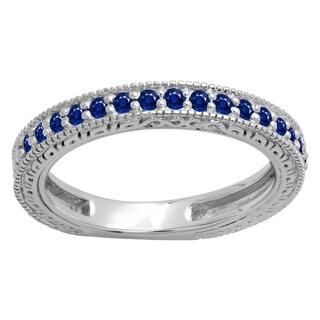 Ladie's 14k Gold 1/3-carat Round-cut Blue Sapphire Millgrain Detail Stackable Wedding Band