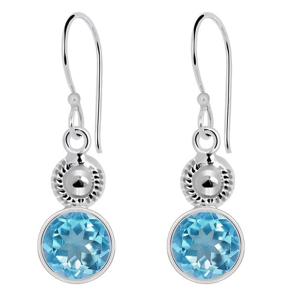 Orchid Jewelry 925 Sterling Silver 4.85ct Blue Topaz Dangle Earrings