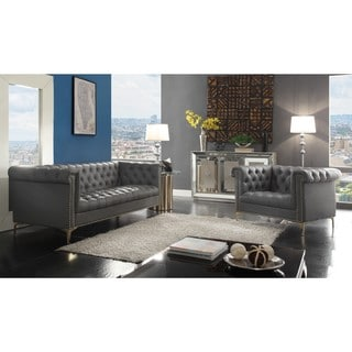 Iconic Home Winston Blue/Black/Grey Chrome/Leather Button Tufted with Gold Nailhead Trim Goldtone Metal Y-leg Sofa