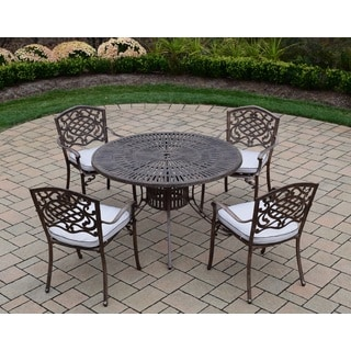 Sundance Explorer Cast Aluminum 5-piece Dining Set with 48-inch Table and 4 Fabric-cushioned Stackable Chairs